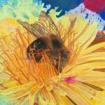 Detail of the bee painting by Calley O'Neill and Rama the elephant
