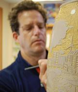 Chris Moench, Master Ceramics Sculptor, and  creator of prayer wheels for The Rama Exhibition