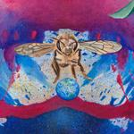 Detail of the bee painting based on an outstanding honey bee reference photographed by Oregon Zoo photographer, Michael Durham.